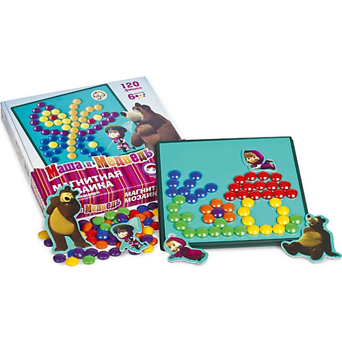 """Магнитная мозаика с аппликациями Десятое королевство """"Маша и Медведь"""", 120 элементов от Десятое королевство"""
