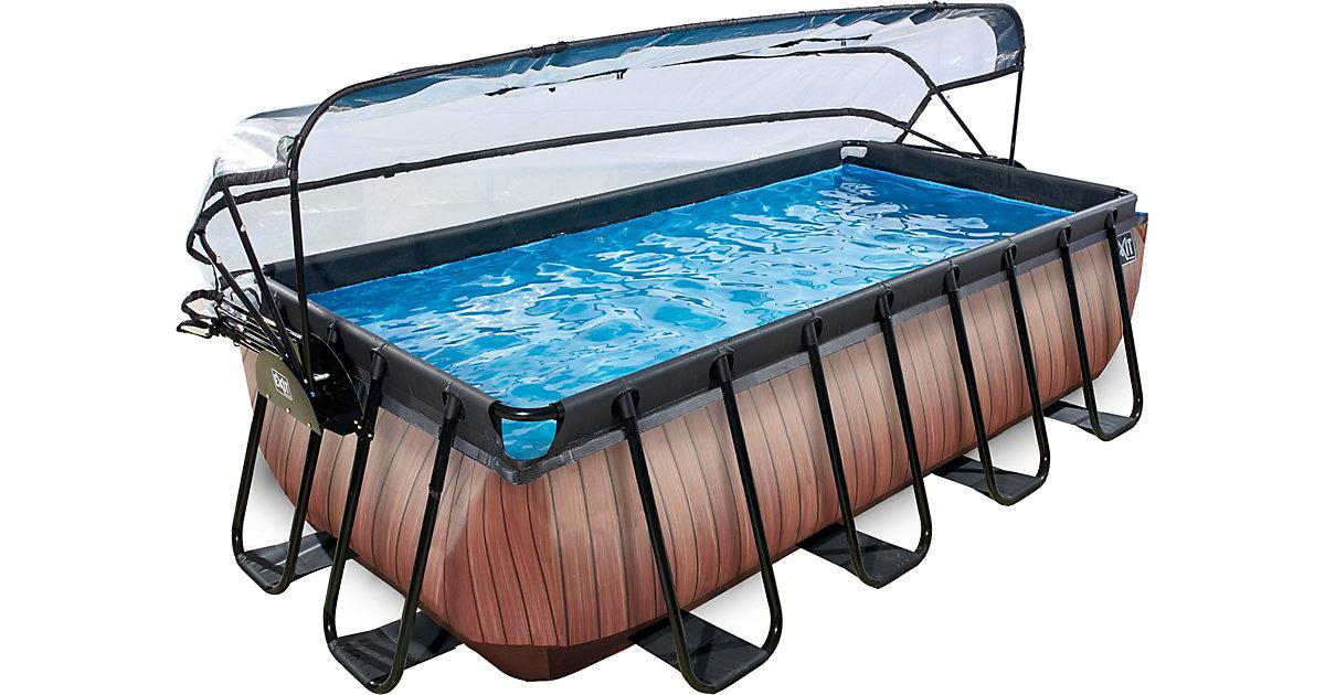 EXIT · Frame Pool 4x2x1m mit Sonnendach, Holz Optik