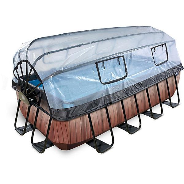 Extrem Frame Pool 4x2x1m mit Sonnendach, Holz Optik, EXIT   myToys YU37