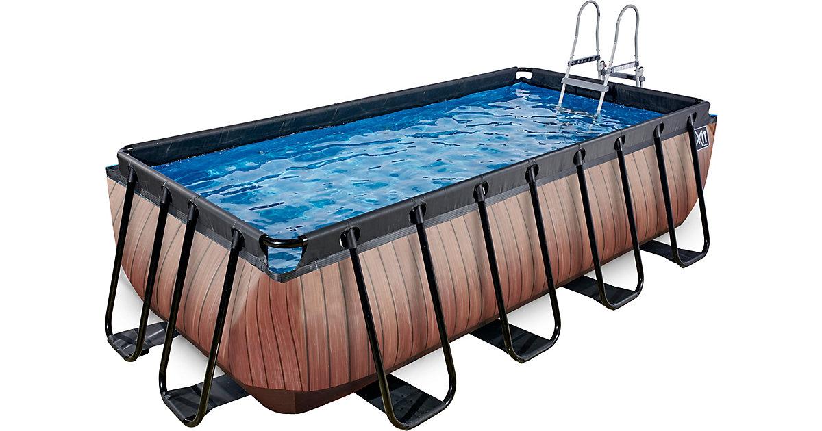 EXIT · Frame Pool 4x2x1m Premium, Holz Optik
