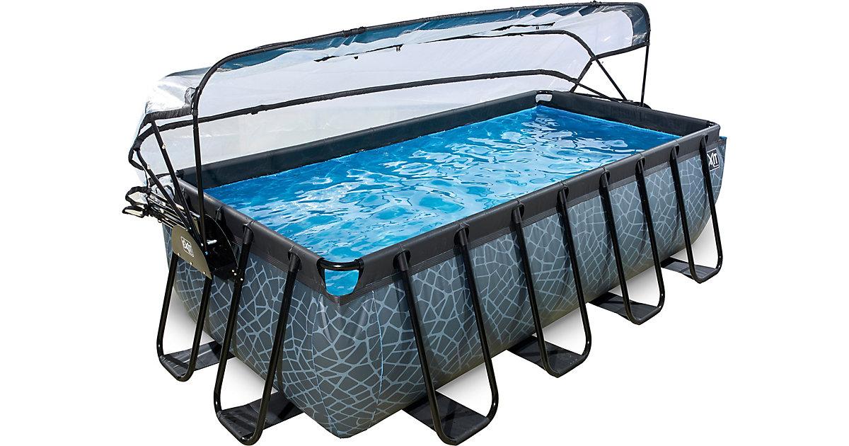 EXIT · Frame Pool Premium 4x2x1m mit Sonnendach, grau
