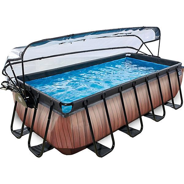 Gut gemocht Frame Pool Premium 4x2x1m mit Sonnendach, Holz Optik, EXIT   myToys GR81