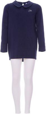 Костюм:футболка с длинным рукавом,леггинсы Original Marines для девочки - темно-синий