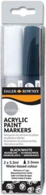 """Акриловые маркеры Daler Rowney """"Simply"""", черный/белый"""