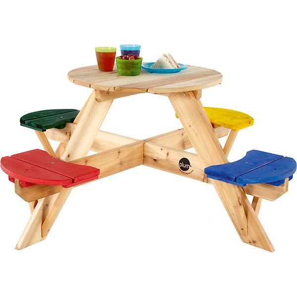 Kinder Picknicktisch rund mit farbigen Sitzen, plum | myToys