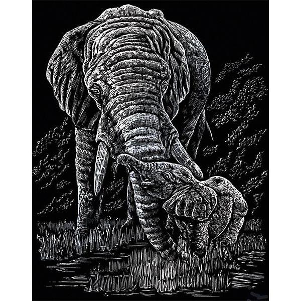 """Гравюра Royal&Langnickel """"Слоны"""", серебро"""