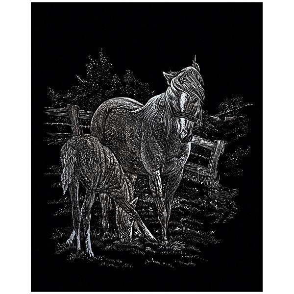 """Гравюра Royal&Langnickel """"Лошадь с жеребёнком"""", серебро"""