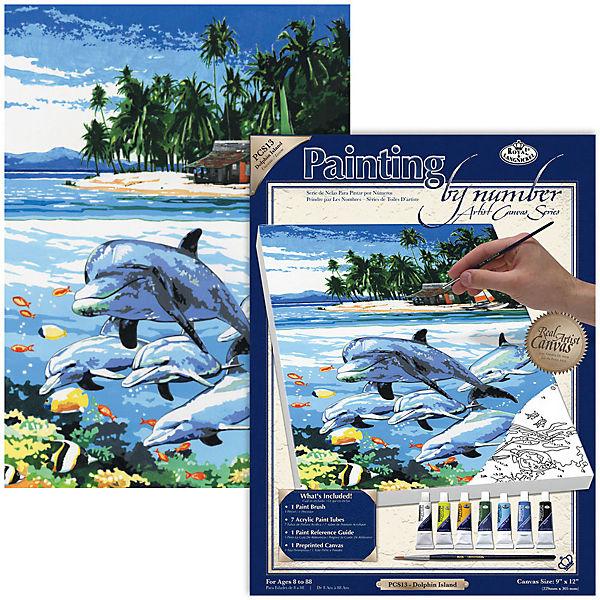 """Картина по номерам на холсте Royal&Langnickel """"Остров дельфинов"""", 22х30 см"""