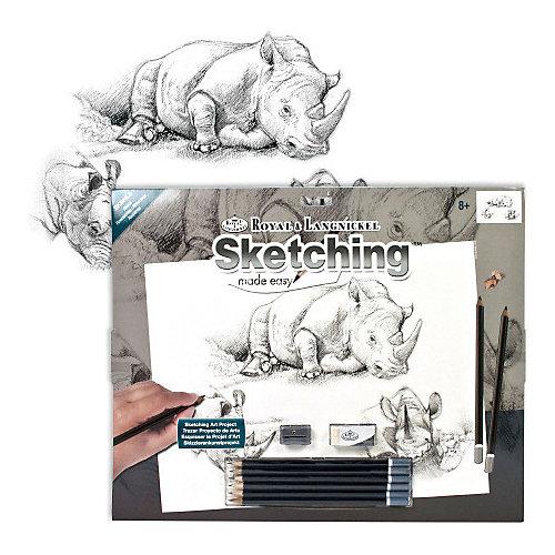 "Картина-эскиз по номерам карандашами Royal&Langnickel ""Носороги"", 28,5х39 см от Royal&Langnickel"