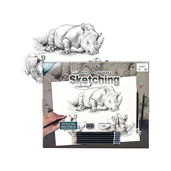 "Картина-эскиз по номерам карандашами Royal&Langnickel ""Носороги"", 28,5х39 см"