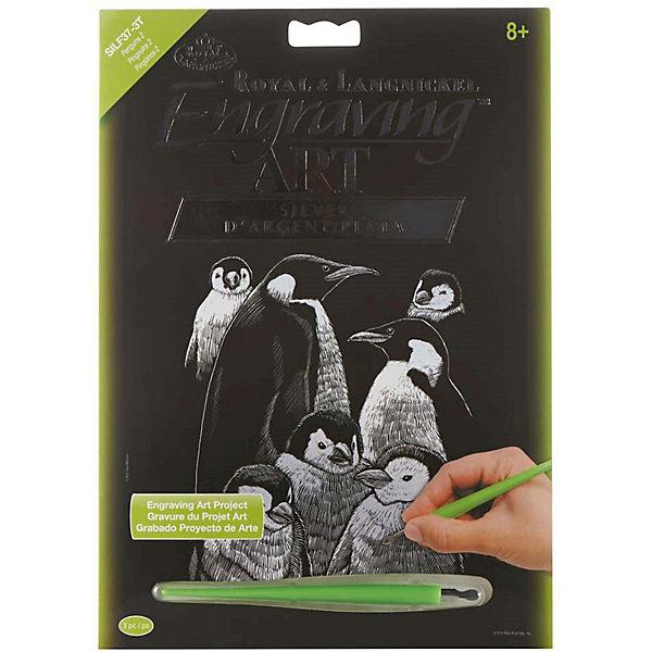 """Гравюра Royal&Langnickel """"Пингвины"""", серебро"""