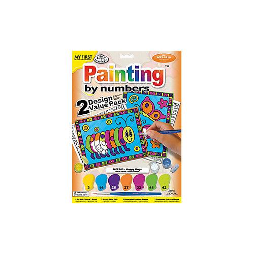"""Картина по номерам для малышей Royal&Langnickel """"Весёлые букашки"""" 2 шт., 22,5х29,8 см от Royal&Langnickel"""