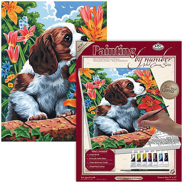 "Картина по номерам на холсте Royal&Langnickel ""Щенок и лилии"", 22х30 см"