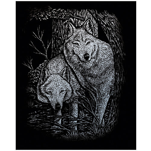 """Гравюра Royal&Langnickel """"Лесные волки"""", серебро от Royal&Langnickel"""