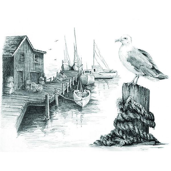 "Картина-эскиз по номерам карандашами Royal&Langnickel ""Чайка"", 22х29 см"