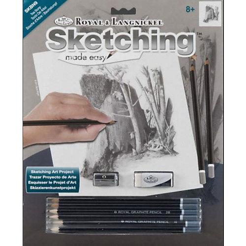 "Картина-эскиз по номерам карандашами Royal&Langnickel ""Пень"", 22х29 см от Royal&Langnickel"