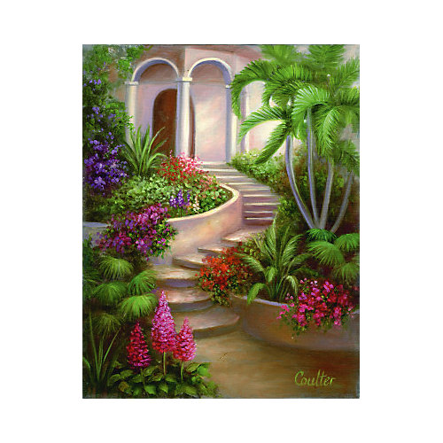 """Картина по номерам на холсте Гризайль Royal&Langnickel """"Испанский садик"""", 28х35 см от Royal&Langnickel"""
