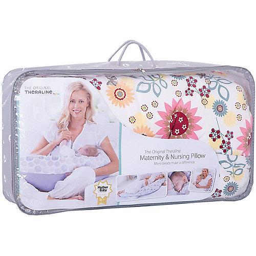Подушка для беременных TheraLine 190 см. Летний сад, экрю - экрю от Theraline