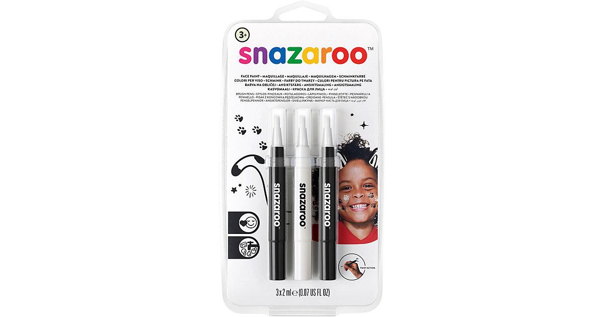 Snazaroo Pinsel Schminkstift-Set Schwarz und Weiß, 3 Stück