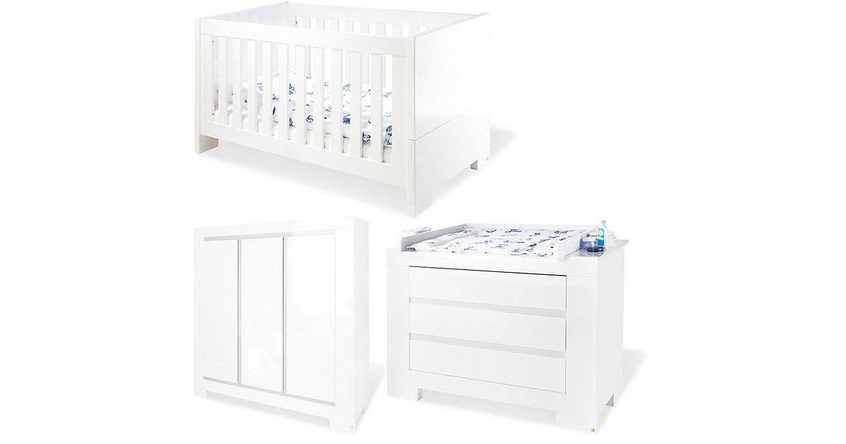Pinolino · Komplett Kinderzimmer ARCTICA, 3-tlg. (Kinderbett, Wickelkommode und 3-türiger Kleiderschrank), weiß