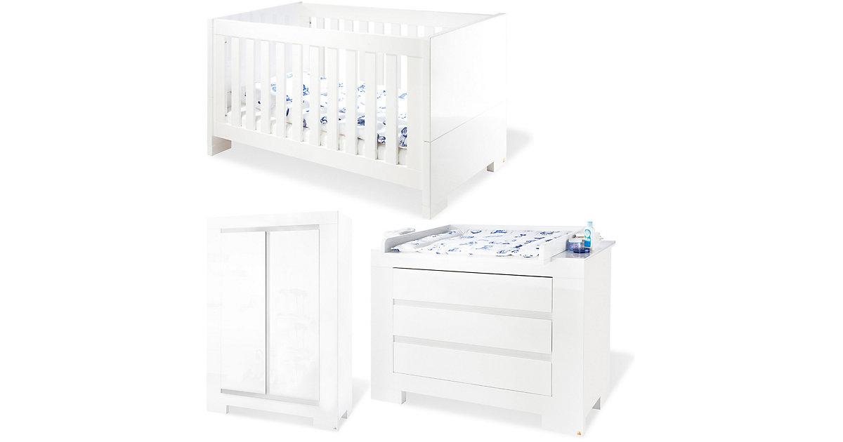Pinolino · Komplett Kinderzimmer ARCTICA, 3-tlg. (Kinderbett, Wickelkommode und 2-türiger Kleiderschrank), weiß