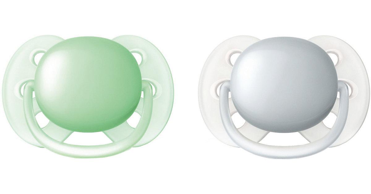 Philips AVENT · Schnuller Ultra Soft, Gr.0, grün/grau, 2er Pack