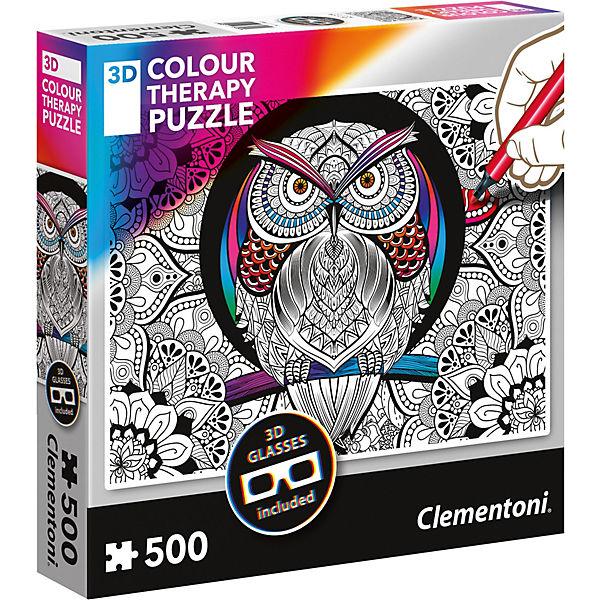 Puzzle 500 Teile - Colour Therapy Eule, Clementoni