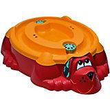 Песочница-бассейн - Собачка с крышкой (красный, оранжевый)