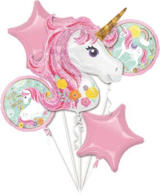 Süße Folienballon-Einhörner in Rosa, 5 Stück