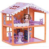 """Домик для кукол """"Дом Анжелика"""", оранжево-сиреневый с мебелью"""