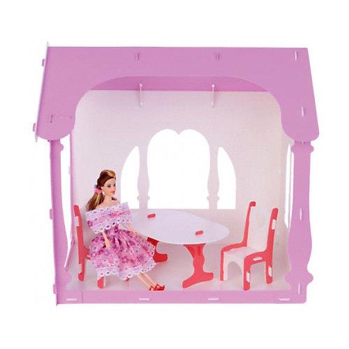 """Домик для кукол """"Летний дом Вероника"""", бело-розовый с мебелью от Replace and Choose"""