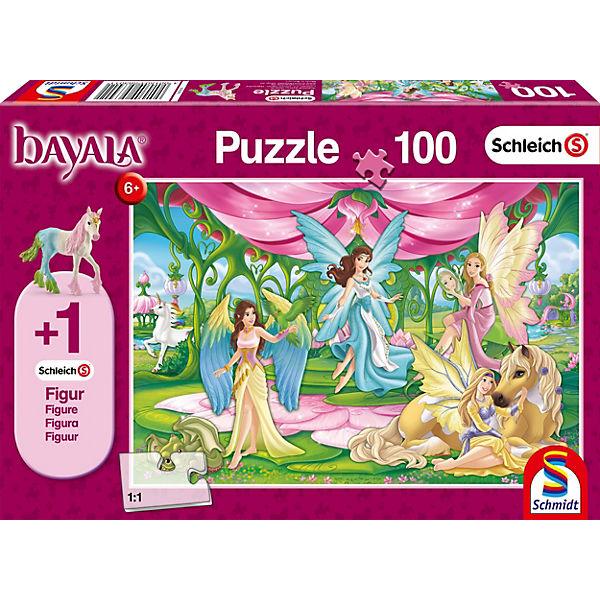 Puzzle 100 Teile Schleich Bayala, Im Kronsaal von Bayala + Figur Surahs Federfohlen, Schmidt Spiele