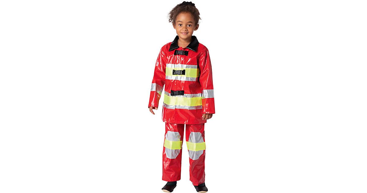Kostüm Feuerwehrmann / Feuerwehrfrau rot, 2-tlg. Gr. 98/110 Jungen Kleinkinder