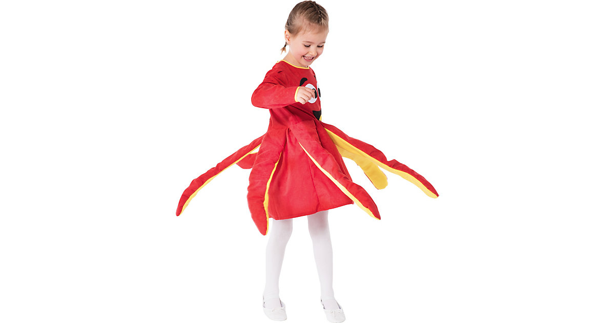 Kostüm Oktopuskleid, rot gelb/rot Gr. 110/116 Mädchen Kinder