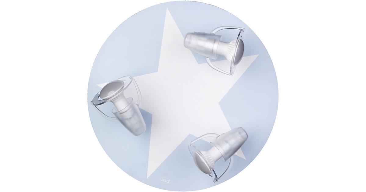 Waldi · Deckenleuchte hellblau mit Stern weiß, 3-flg.