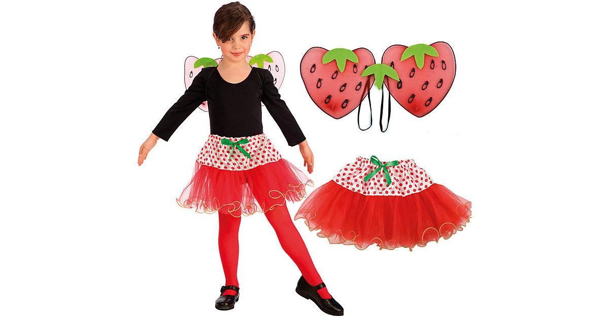 Erdbeere-Set (Flügel, Rock), 2-tlg. Mädchen Kinder