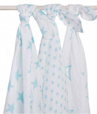 Комплект муслиновых пеленок 115х115см, 3шт, Little star jade (Нефритовые звёзды)