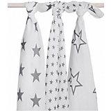 Комплект муслиновых пеленок 115х115см, 3шт, Little star grey (Серые звёзды)