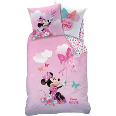 Wende-Kinderbettwäsche Disney\'s Minnie Mouse, Renforcé, weiß/rosa ...
