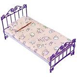 Мебель для куклы Огонёк Кроватка с постельным бельём, фиолетовая