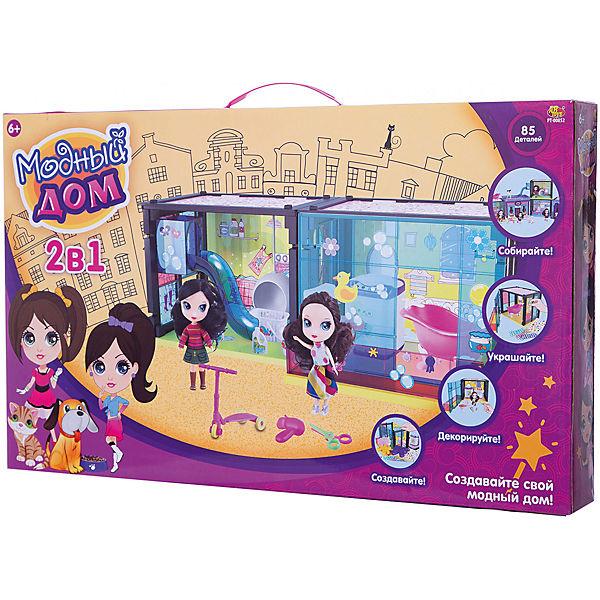 """Кукольный домик 2 в 1 ABtoys """"Модный дом"""" С куклой и мебелью, 85 деталей"""