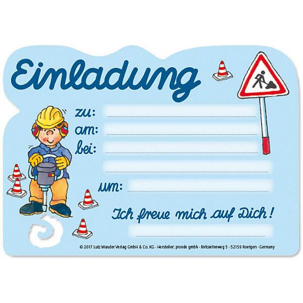 Einladungskarten Bagger, 8 Stück inkl. Umschläge, Lutz Mauder Verlag hcUThK