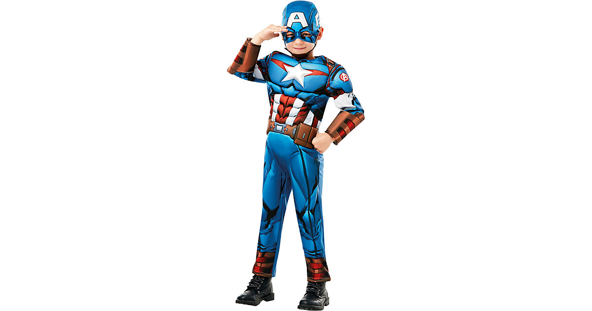 Kostüm Captain America Avengers Assemble Deluxe blau Gr. 122/128 Jungen Kinder