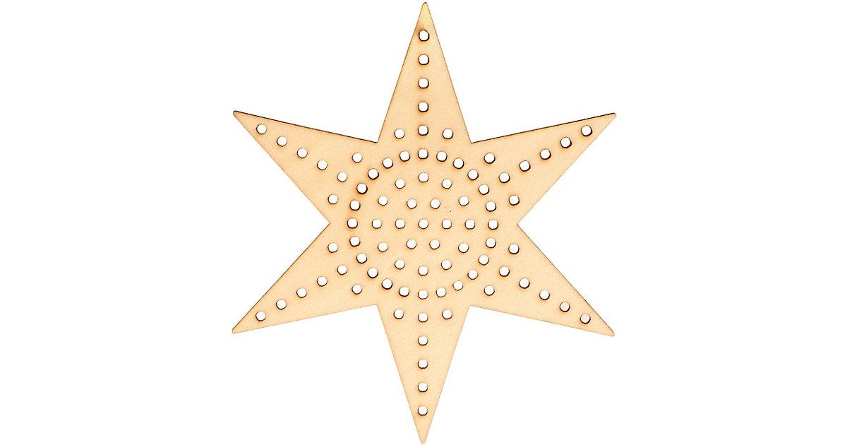 Holzanhänger Stern zum Besticken, 4 Stück