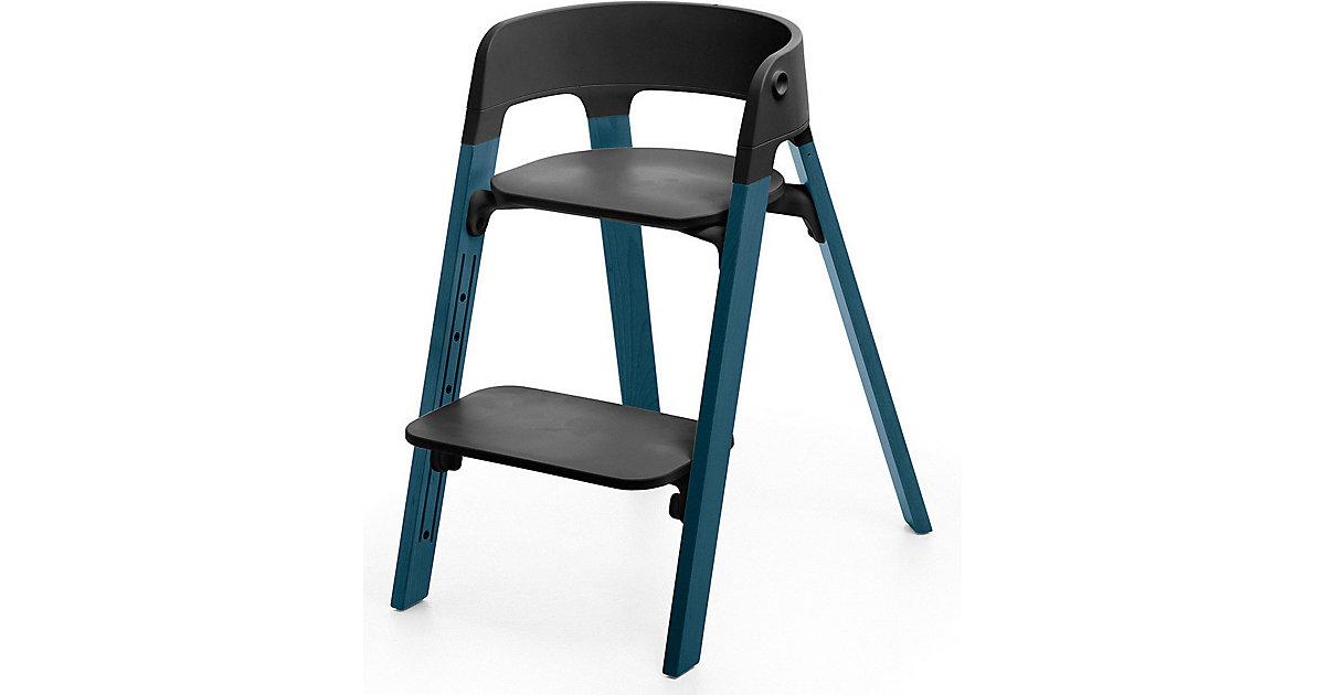 Stokke · Steps™ Hochstuhl, Sitz black inkl. Beine Buchenholz, midnight blue