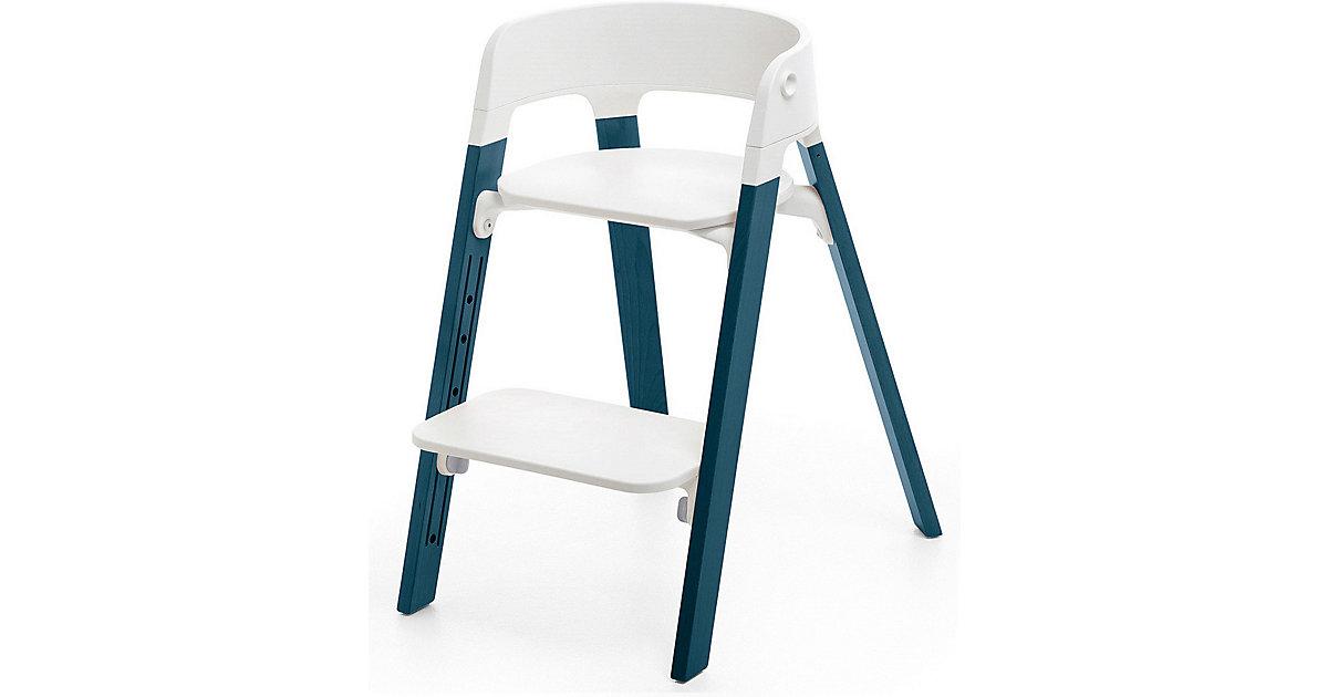 Stokke · Steps™ Hochstuhl, Sitz white inkl. Beine Buchenholz, midnight blue