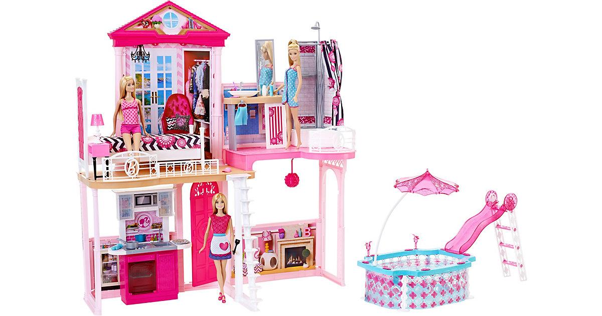 Mattel · Barbie Haus, Möbel und Pool Geschenkset, inkl. 3 Barbie-Puppen