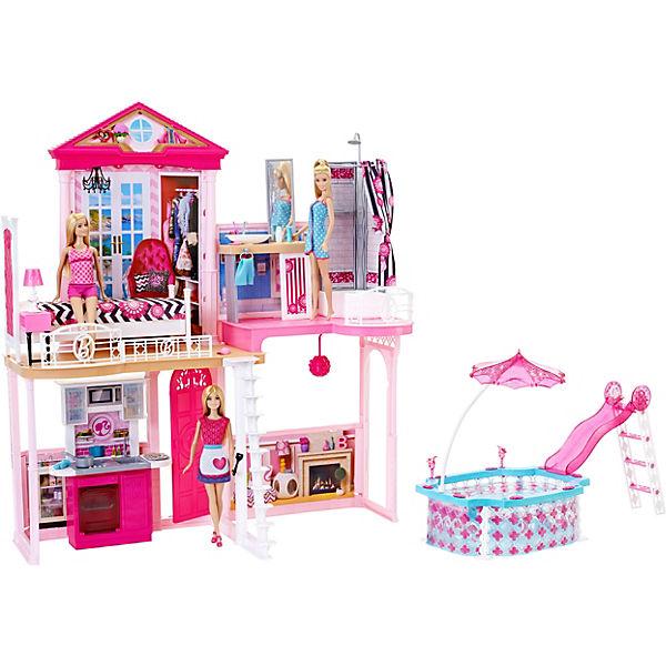 barbie haus m bel und pool geschenkset inkl 3 barbie puppen barbie mytoys. Black Bedroom Furniture Sets. Home Design Ideas