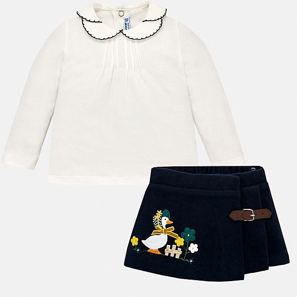 Комплект: Футболка с длинным рукавом и юбка Mayoral для девочки
