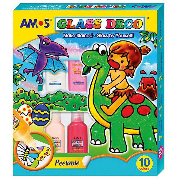 Набор  витражных красок Amos, 10 цветов